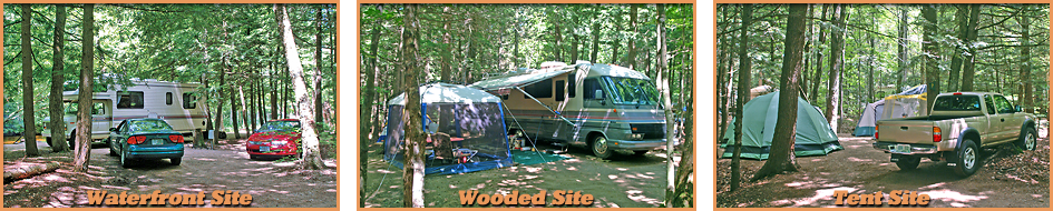 Tent Site Waterfront Site Wooded Site