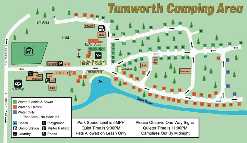Tamworth Camping Area Site Map Rules